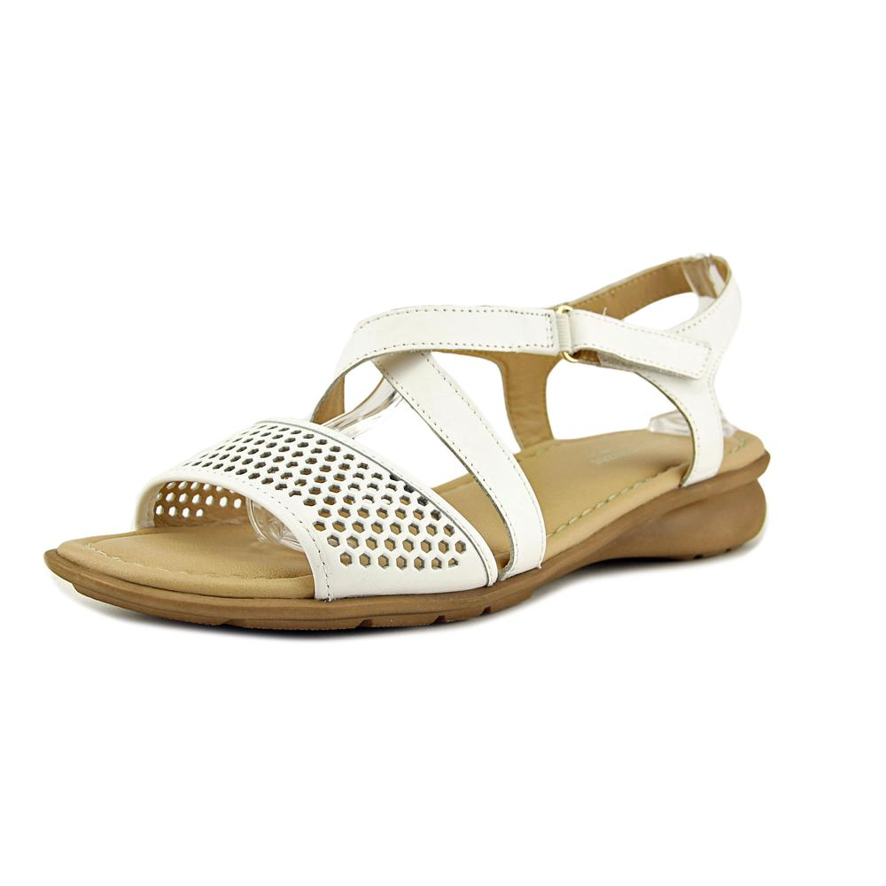 Naturalizer Juniper Women W Open Toe Leather White Sandals by Naturalizer