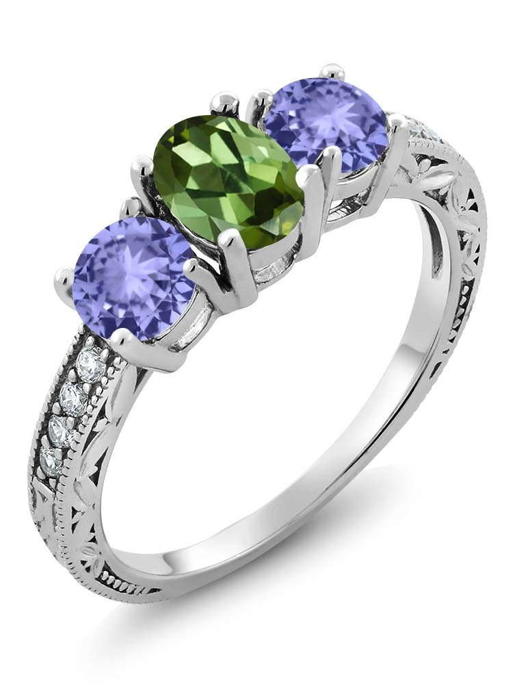 Gem Stone King 1.74 Ct Oval Green Tourmaline Blue Tanzanite 925 Sterling Silver Ring by