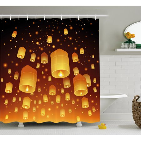 Lantern Shower Curtain Loy Krathong And Yi Peng Festival Thailand Culture Traditional Old Celebrations