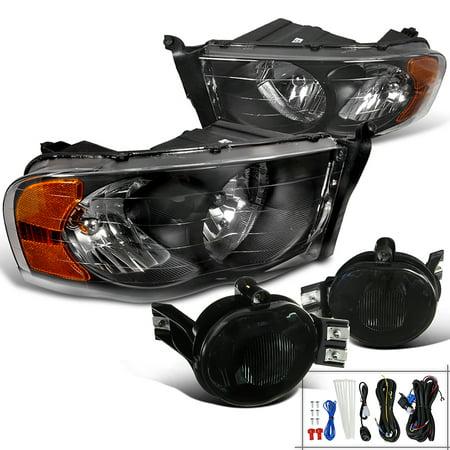 Spec-D Tuning For 2002-2005 Dodge Ram Black Crystal Headlights + Smoke Bumper Fog Lights (Left+Right) 2002 2003 2004 2005 (2005 Dodge Ram Chrome Bumper)