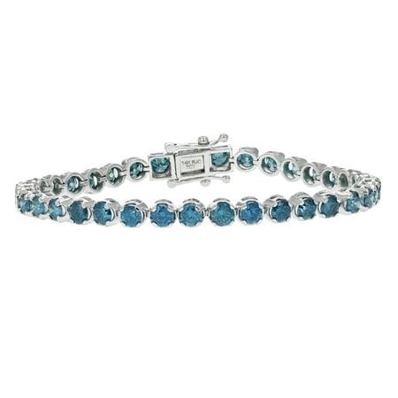 8 CT 14K White Gold Blue Diamond Bracelet