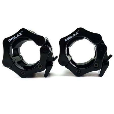 Black Olympic Barbell Collars Set 2 Inch Professional Quality ABS Pair of Quick Release Locking Bar Clamps - Perfect for Crossfit Strong Lifts and Fitness Training - Free Bag (Best Way To Get Abs Quick)