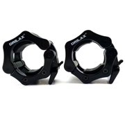 Black Olympic Barbell Collars Set 2 Inch Professional Quality ABS Pair of Quick Release Locking Bar Clamps - Perfect for Crossfit Strong Lifts and Fitness Training - Free Bag Included