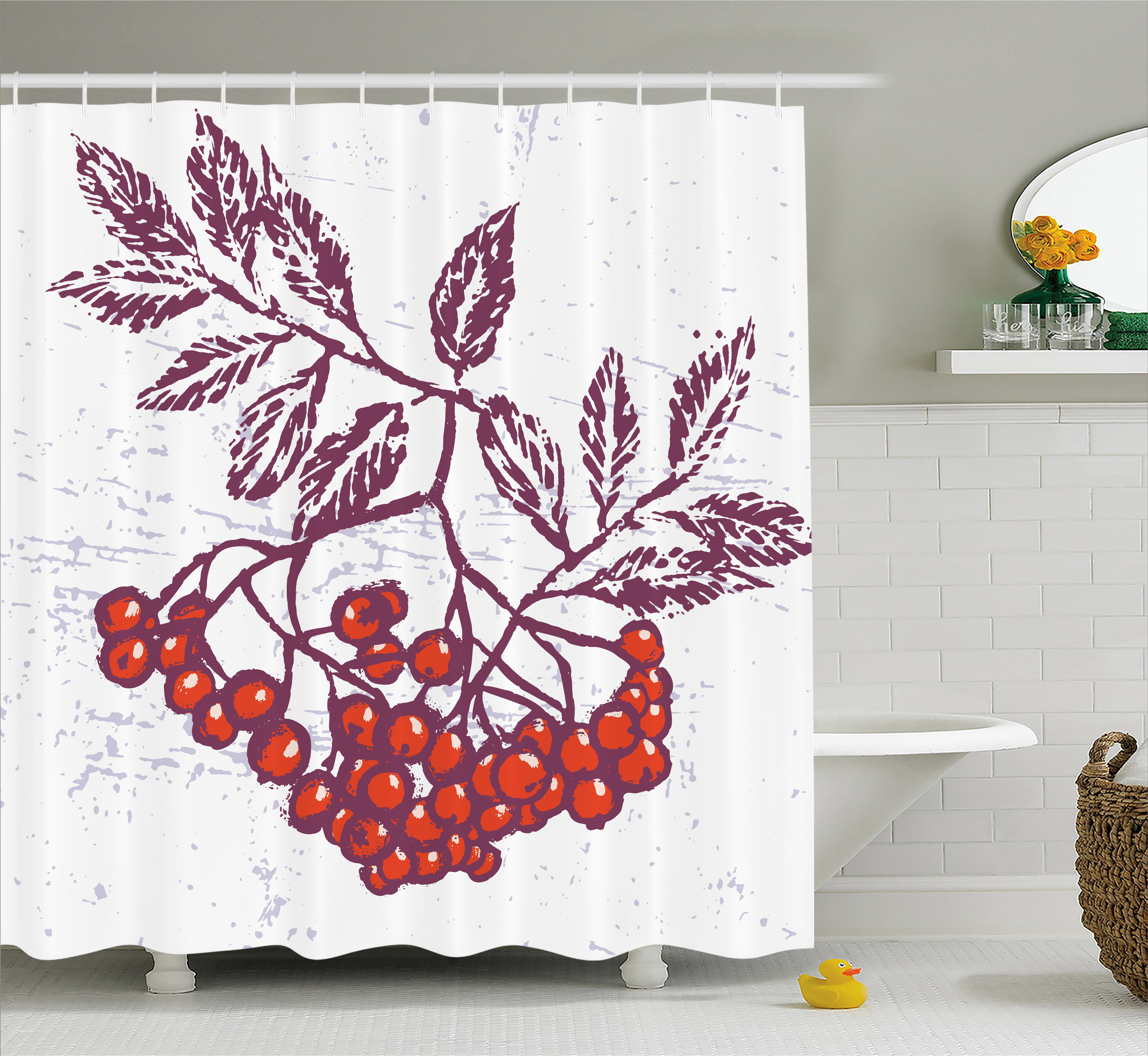 Rowan Shower Curtain Artistic Berry Bunch Hand Drawn Seasonal Fruit Natural Organic Food Theme Fabric Bathroom Set With Hooks Purple Orange White