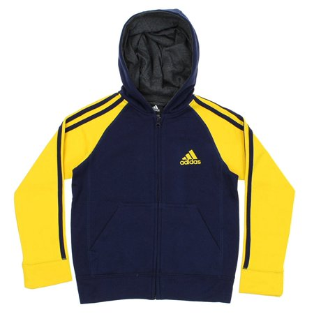 Adidas Youth Full-Zip Three Stripe Hoodie, Color (Adidas The Brand With The 3 Stripes)