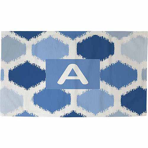 Thumbprintz Batik Monogram Rug, Blue