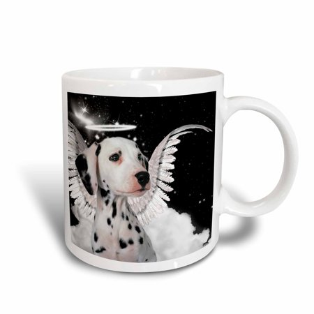 3dRose Dalmatian Angel Dog with clouds, a cute Halo and Angel Wings, Ceramic Mug, 15-ounce](Halos And Wings)