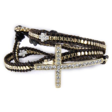 - Leather Cross Wrap Bracelet Christian Fashion Jewelry Religious