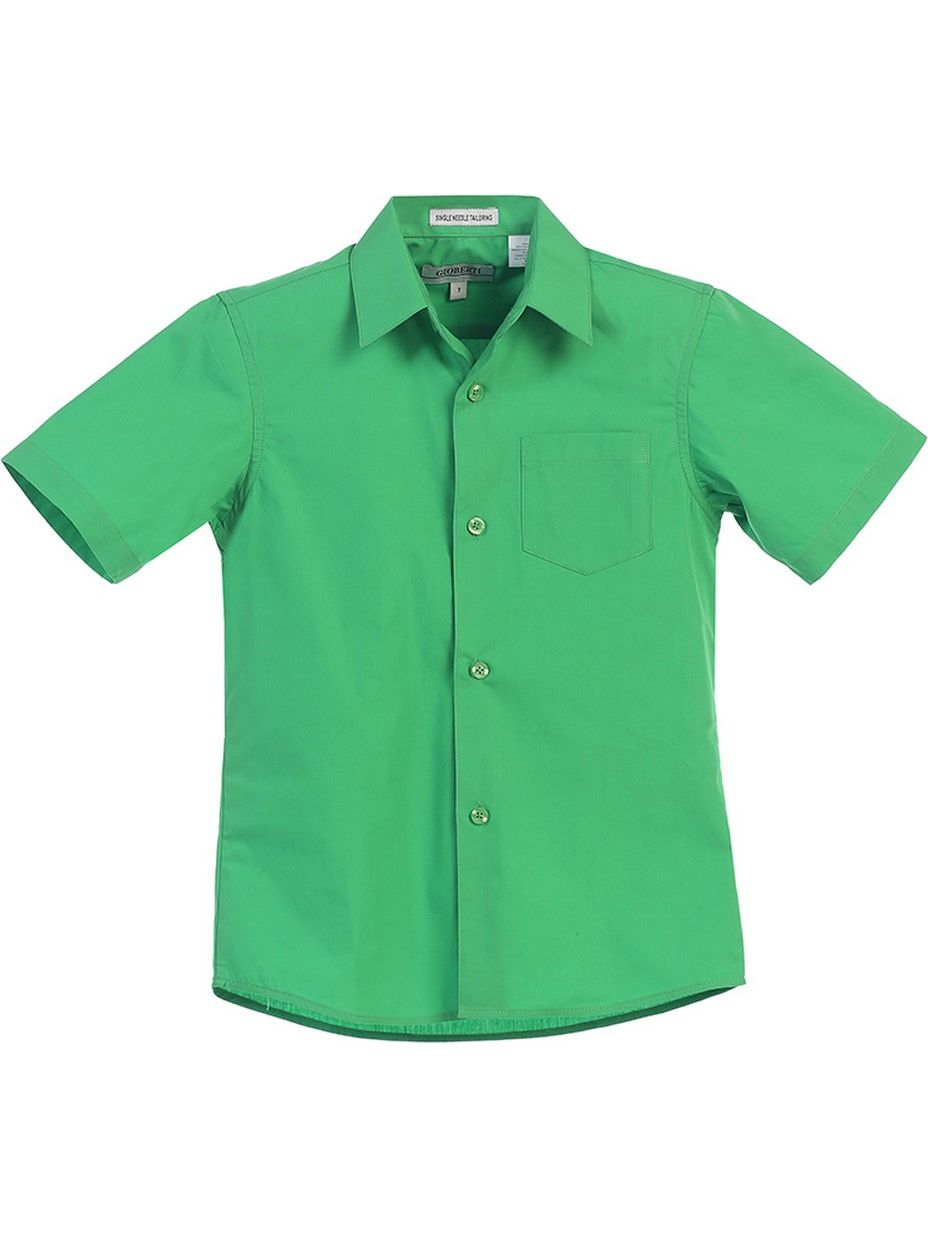 Gioberti Big Boys Green Solid Color Button Down Short Sleeved Shirt
