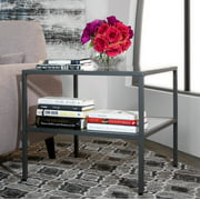 """Studio Designs Home Camber 2-Tier Modern 25"""" Square End/Side Table in Pewter"""