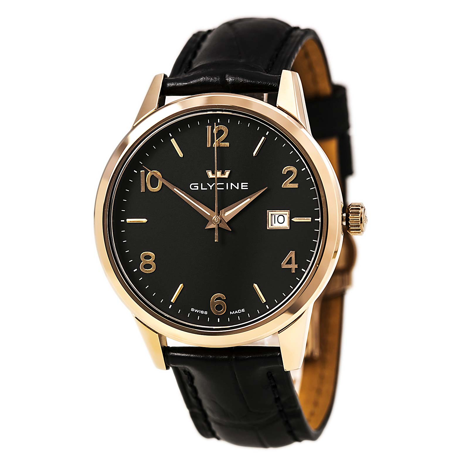 Glycine 3925-29 Men's Classic Black Dial Rose Gold Steel Black Leather Strap Watch