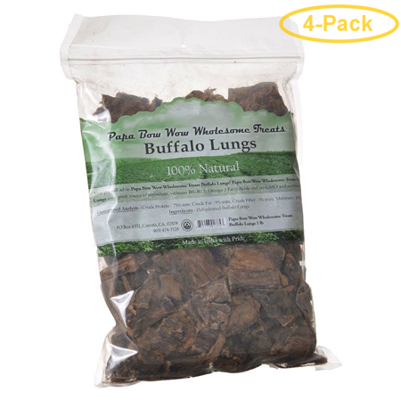 Papa Bow Wow Buffalo Lungs 1 lb - Pack of 4