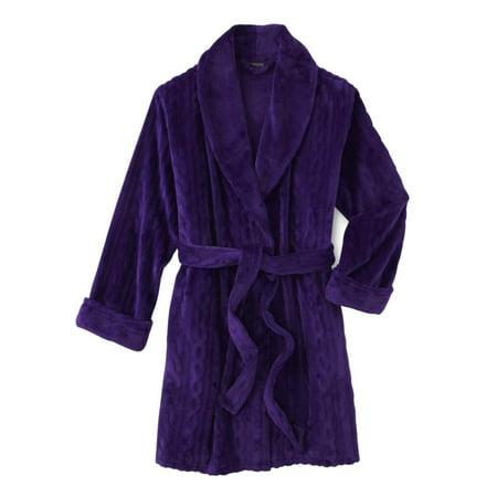 Womens Plush Purple Cable Bath Robe Housecoat Bathrobe