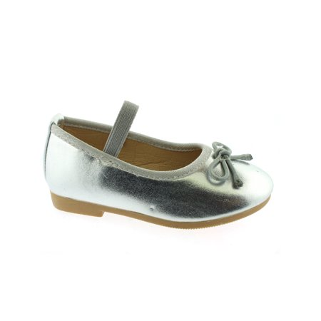 Girl Silver Shoes (Kate Little Girls Silver Elastic Strap Bow Mary Jane)