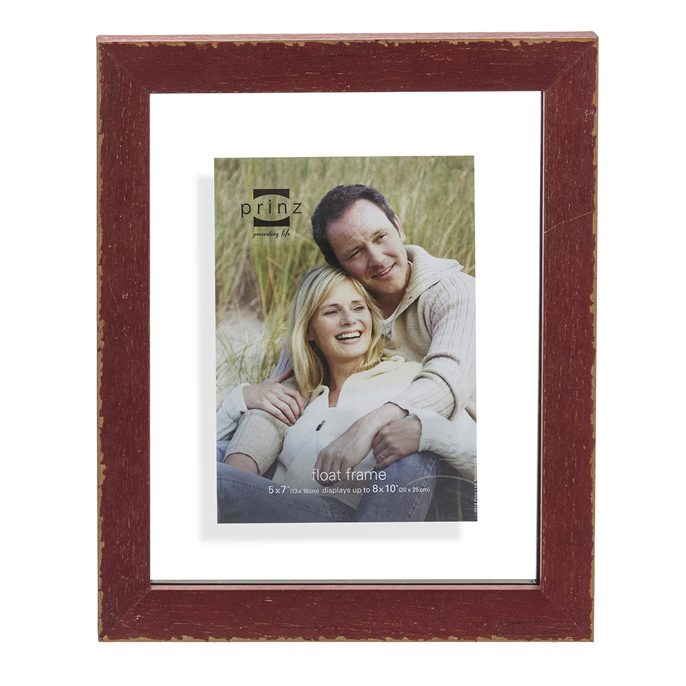 Prinz Bristol Distressed Wood Float Frame, 5X7-Inch, Red