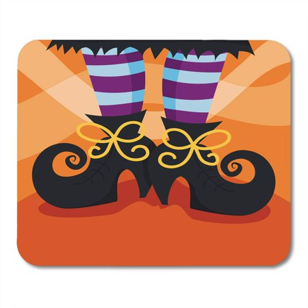 LADDKE Halloween Cartoon of Witch Boots Foot Whimsical Fun Shoes Stocking Mousepad Mouse Pad Mouse Mat 9x10 inch (Cartoon Halloween Witches)