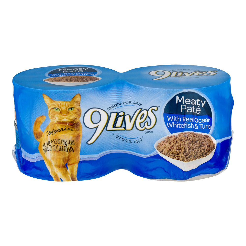Image of 9 Lives Cat Food Ocean Whitefish & Tuna - 4 CT