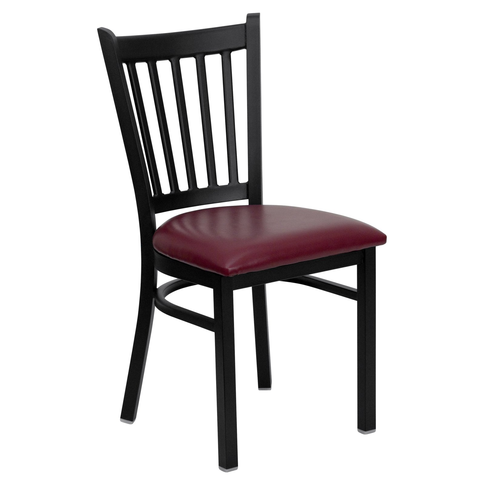 HERCULES Series Black Vertical Back Metal Restaurant Chair - Burgundy Vinyl Seat