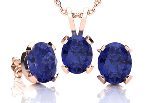 3 Carat Oval Shape Tanzanite Necklace and Earring Set In 14K Rose Gold Over Sterling Silver by