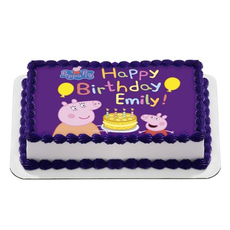 Peppa Pig Quarter Sheet Edible Photo Birthday Cake Topper. ~ Personalized! 1/4 - Peppa Pig Cake Toppers