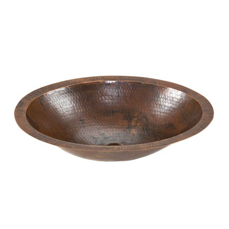 Premier Copper Products LO17FDB Small Oval Under Counter Hammered Copper Sink ()