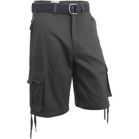 Men's Loose Fit Twill Multi Pocket Cargo Shorts with Belt