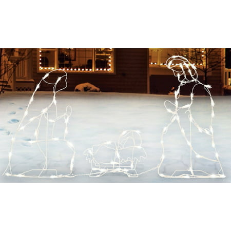 Sienna  R6404123 Lighted Nativity Set Christmas Decoration, White, Metal (Nativity Christmas)