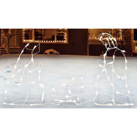Sienna  R6404123 Lighted Nativity Set Christmas Decoration, White, Metal](Christmas Nativity Set)