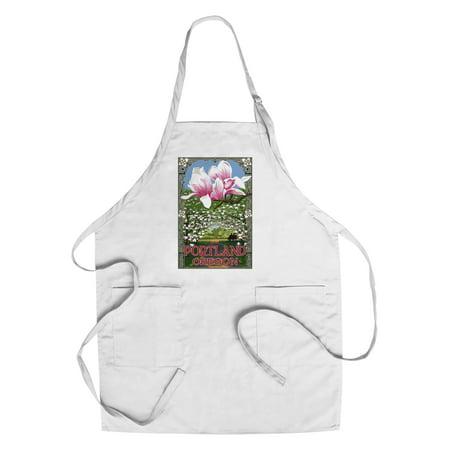 Portland  Oregon   Garden   Magnolia Scene   Lantern Press Poster  Cotton Polyester Chefs Apron