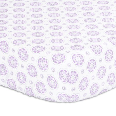 Purple Lilac Medallion Fitted Crib Sheet by The Peanut Shell ()