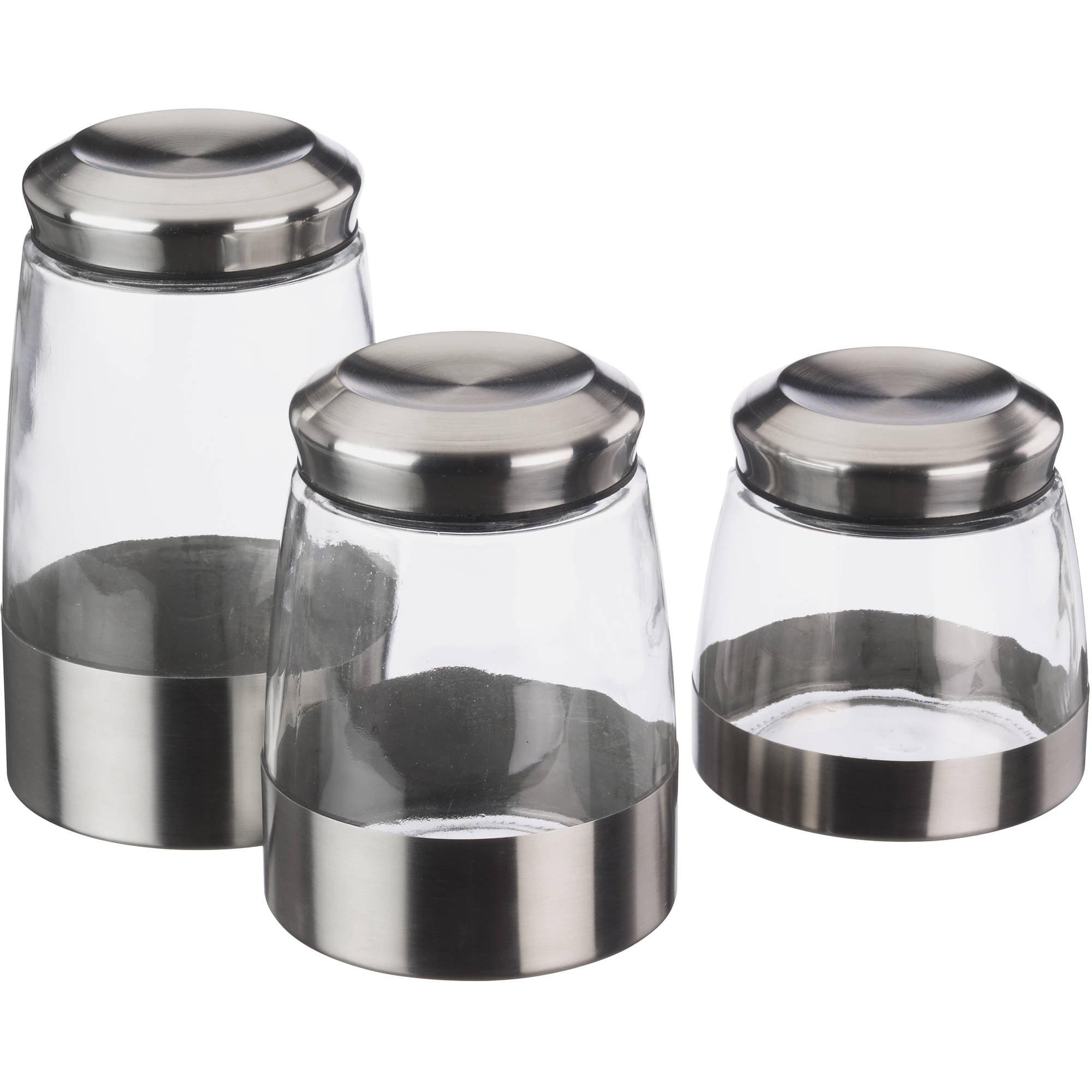 mainstays 3 piece glass canister set walmart com