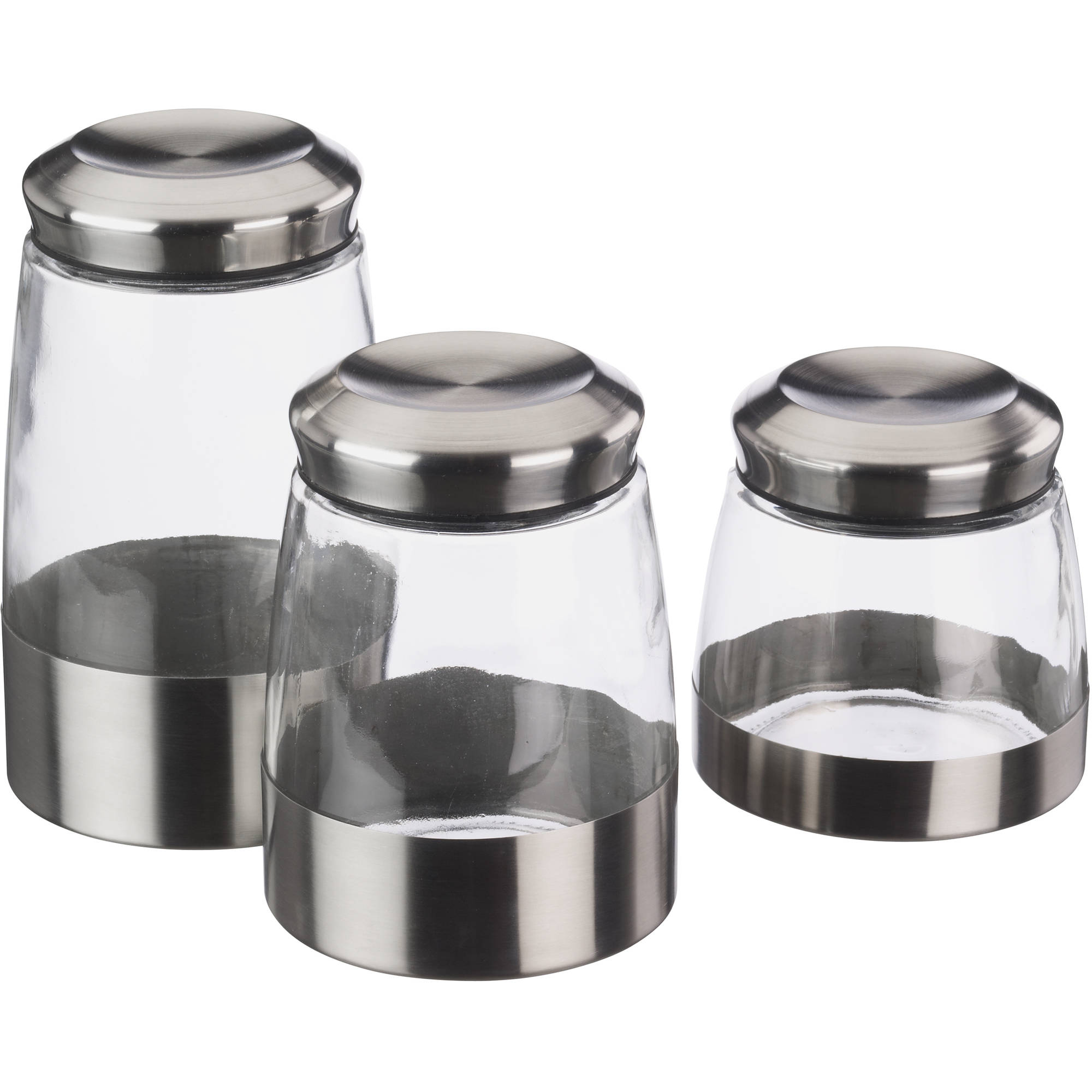 kitchen canister sets walmart mainstays 3 glass canister set walmart 19294