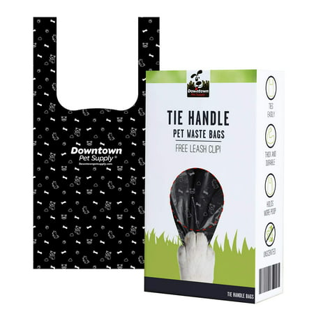 Doggie Doo Bags (Dog Cat Tie Handle Pet Waste Bags, Doggie Poop Bags for All Size Dogs - Includes Poop Bag Holder (Black, 100 Bags) - 6.5