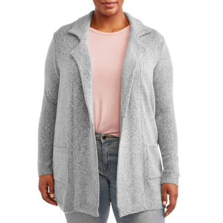 Absolutely Famous Women's Plus Size Notch Collar Yarn Jacket thumbnail