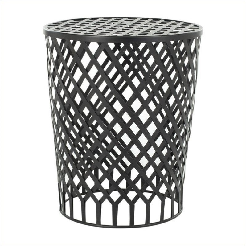 Welded Strips Accent Table in Black Epoxy