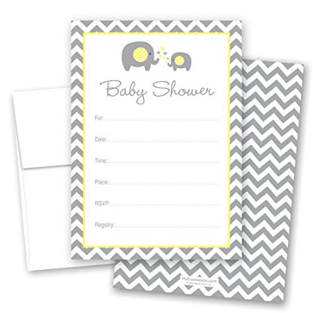 24 Cnt Yellow Elephant Baby Shower Fill-in Invitations - image 1 of 1