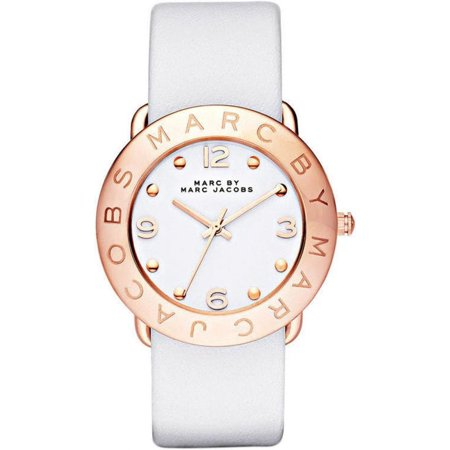 4870e6c91e487 Marc Jacobs - Women's Amy White Leather Strap Watch MBM1180 - Walmart.com