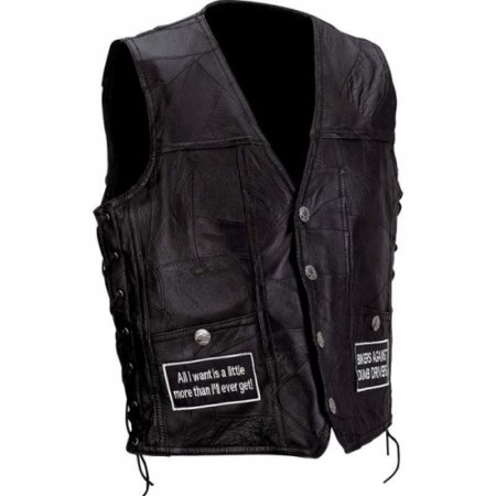 Diamond Plate Rock Design Genuine Buffalo Leather Concealed Carry Vest With Patches- L