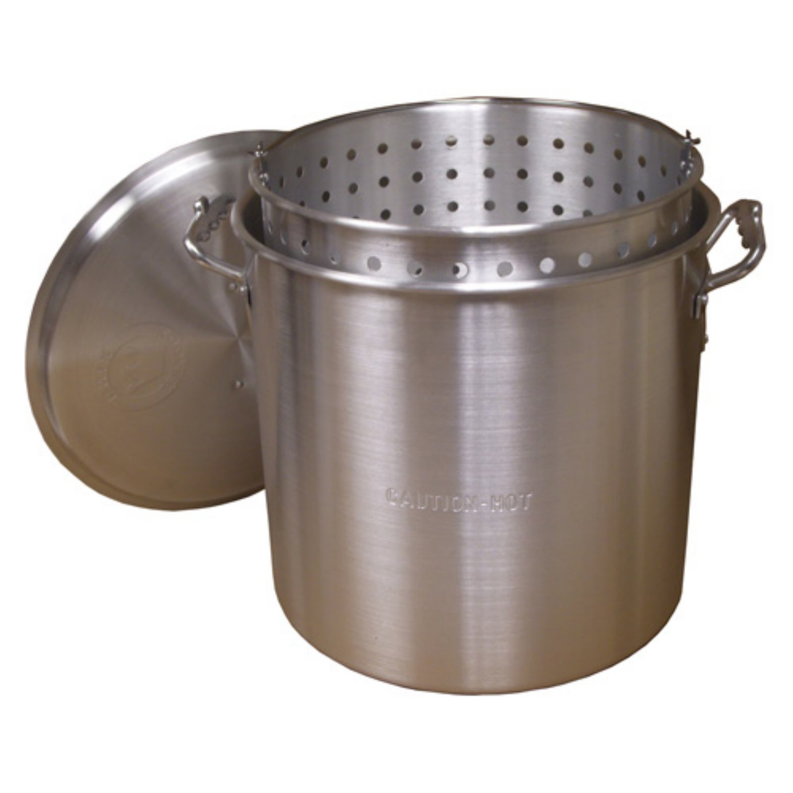 80 Qt. Aluminum Boiling Pot with Basket and Lid