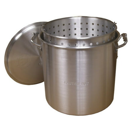 - King Kooker #KK80 - 80Qt Aluminum Boiling Pot with Lid and Basket