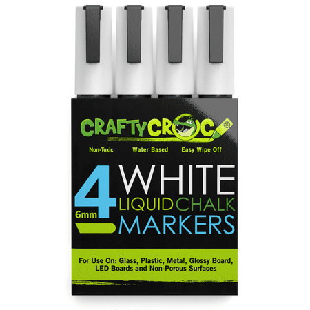 crafty croc wet erase liquid chalk markers, pack of 4 white colors ()