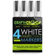 crafty croc wet erase liquid chalk markers, pack of 4 white colors