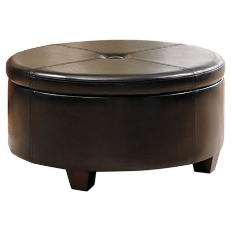 Kinfine Usa Winston Large Round Button Top Storage Ottoman