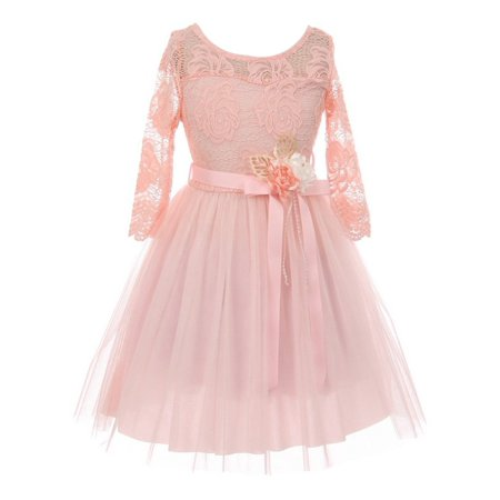 Little Girls Blush Lace Tulle Handmade Flower Easter Dress - Well Made Costumes