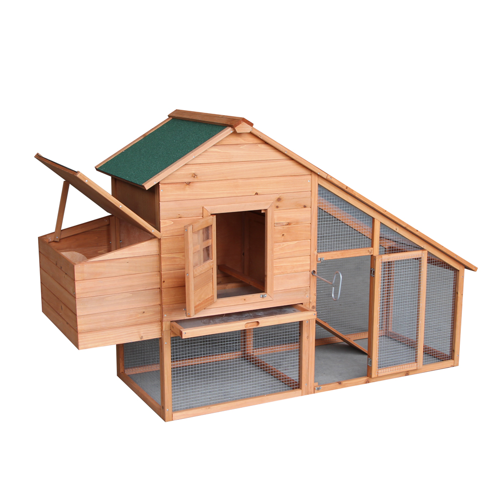 "Zimtown New 75"" Two-tier Wooden Chicken Coop Rabbit Cage Hen House with Egg Case & Tray"