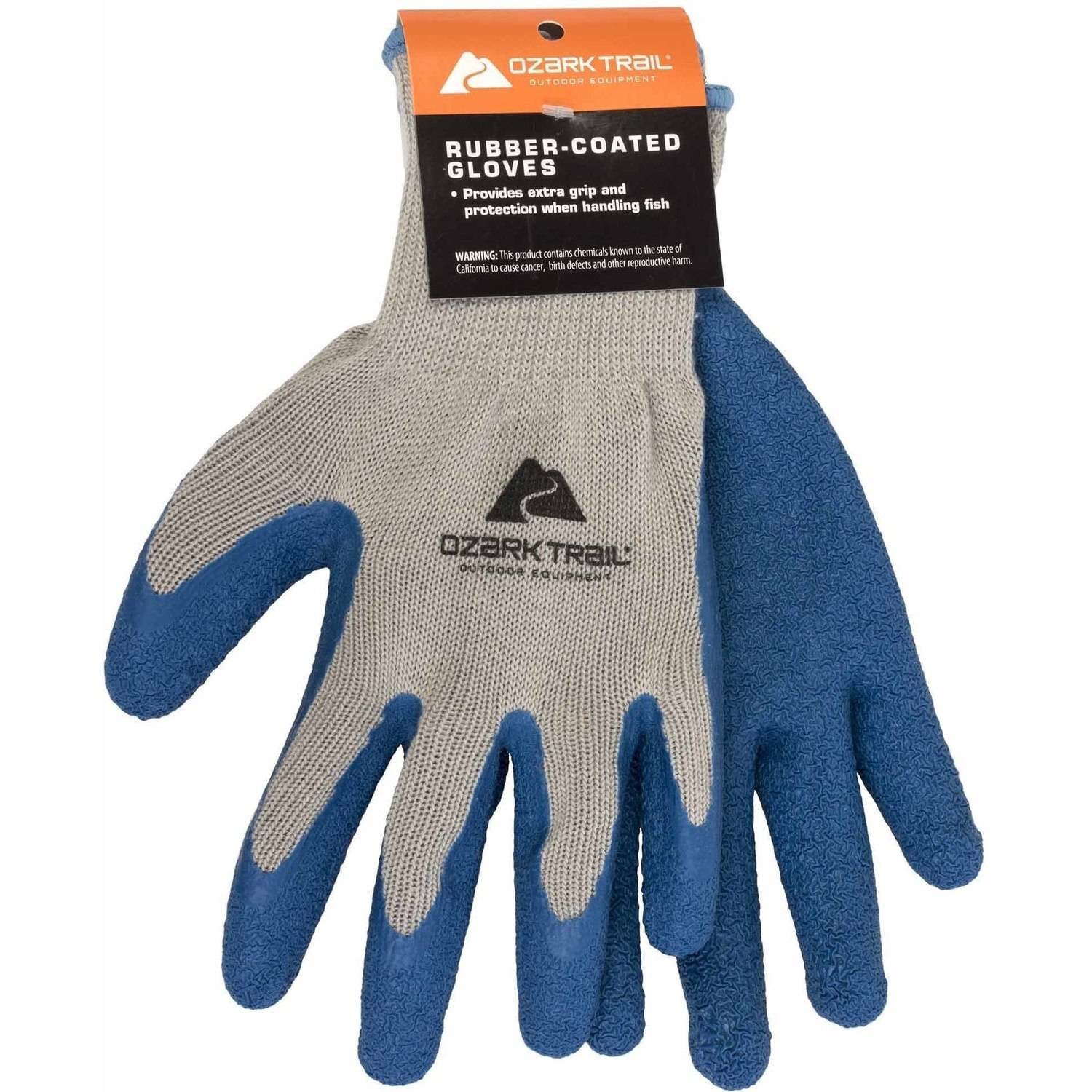 Ozark Trail Outdoor Rubber-Coated Fishing Gloves, Black/Gray