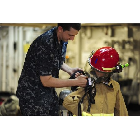 Aurora Deck - Canvas Print Aurora Spear dons firefighting equipment on the mess decks of the aircraft carrier USS Theodore Roos Stretched Canvas 10 x 14
