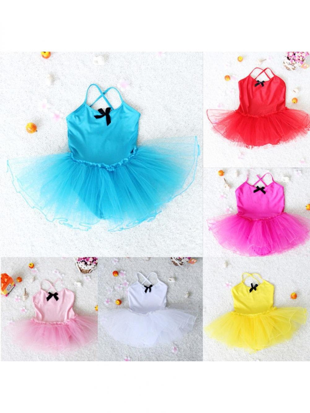 Cute Toddler Baby Girls Bowknot Ballet Tutu Sling Dress Dancing Costume Leotard