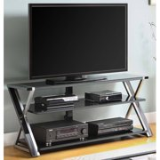 """Whalen Furniture Black TV Stand for 65"""" Flat Panel TVs with Tempered Glass Shelves"""