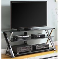 "Whalen Black TV Stand for 65"" Flat Panel TVs with Tempered Glass Shelves"